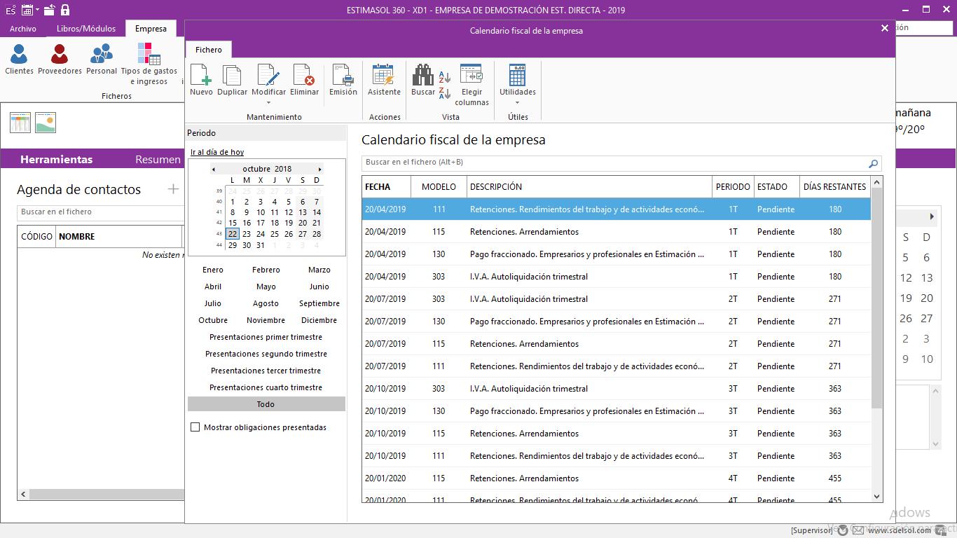 Calendari fiscal de l'empresa