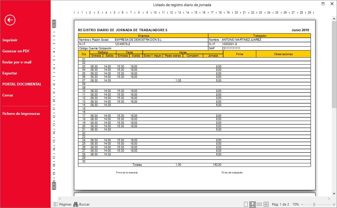 Listado de registro diario de jornada